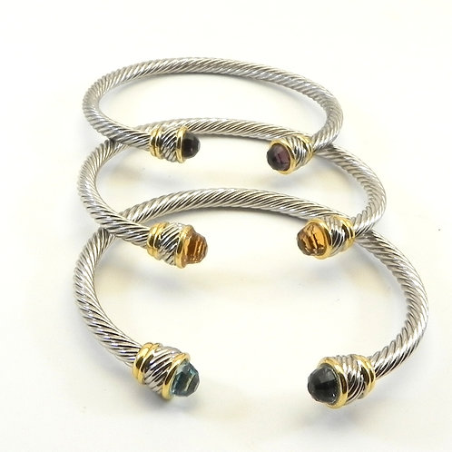 Delicate 3.8 mm Cable Designer Inspired 2-Tone CZ Tips 3-Colors Stackable Cuff