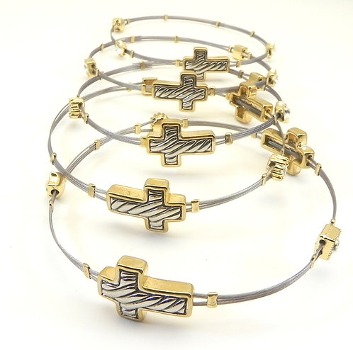 Designer Inspired Stainless Steel Cross Stations Bangle Set