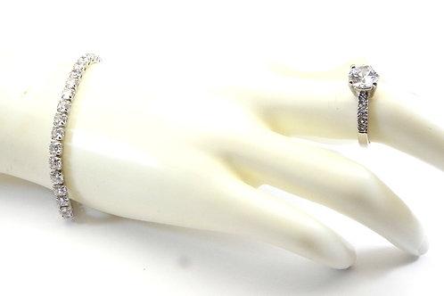 Designer Inspired Silver-Tone Lariat CZ Bracelet & CZ Ring 6-7-8-9