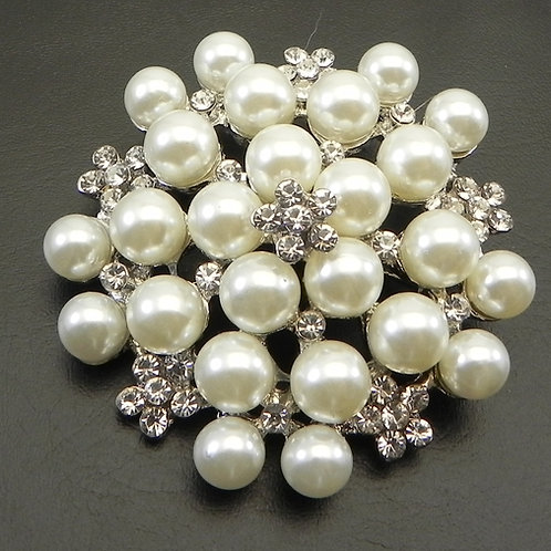 Beautiful Silver Tone Faux Pearl & Austrian Crystals Brooch