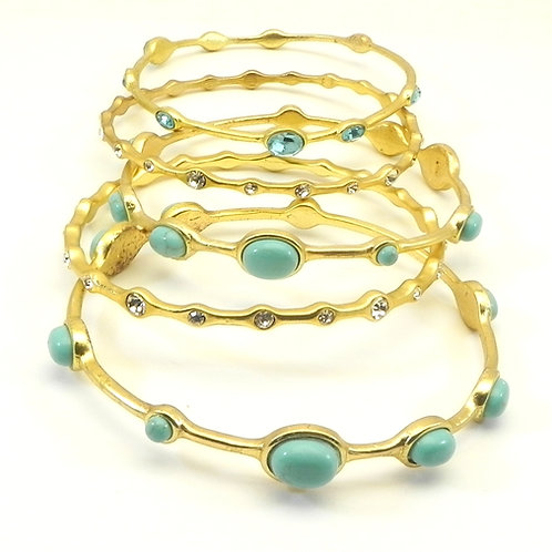 Designer Inspired Gold-tone Faux Turquoise/Austrian Crystal Bangle Bracelet Set