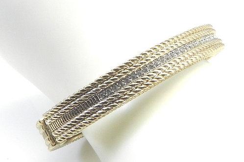 Designer Inspired Gold Tone & Pave Austrian Crystal Bracelet