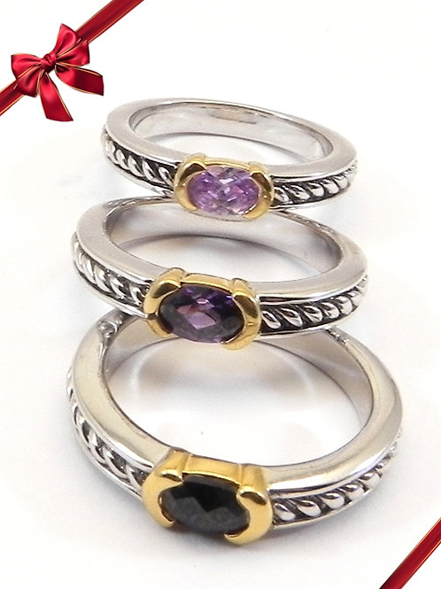 Stacking Ring Set Cable Designer 2-Tone & CZ Jet, Amy, Lavender Size 6-7-8