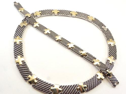 "Designer Inspired Stylish Ribbed Texture Links 2-Tone 16"" Necklace & Bracelet"