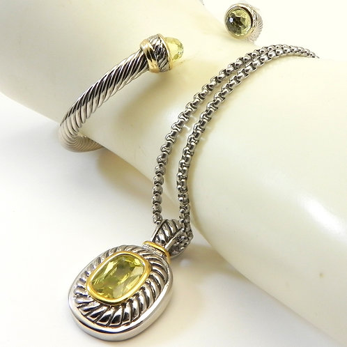 "Cable Designer Inspired 2-Tone Peridot CZ Pendant- Bracelet-24"" Chain Se"
