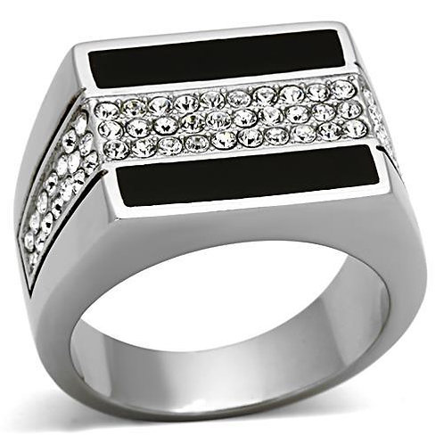Stainless Steel Men's Ring & Pave Swarovski Crystals Size 8-13