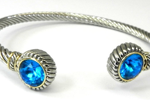 Cable Designer inspired 2-Tone and Blue CZ Bracelet-Cuff