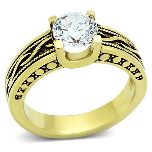 1.28ctw Round Cut CZ Gold IP Stainless Steel Engagement Ring Size 5-10