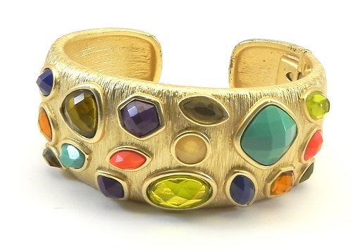Bold Designer Inspired Brushed Gold-Tone Multi-Color Gemstone Crystals Bracelet