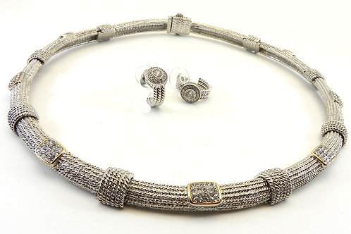 "French Designer Inspired  Silver-Tone Textured  & Pave 18"" Necklace & Earrings"