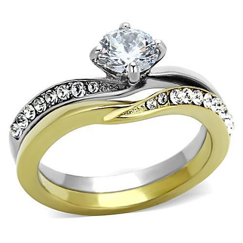 Stainless Steel Bridal Set Engagement Ring- Round Cut CZ's Sz 5-10