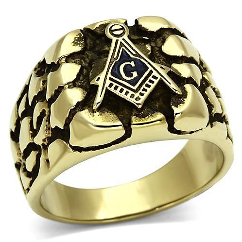 18kt Gold IP Stainless Steel Men's Ring Masons-Antiqued Size 8-13