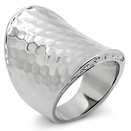 Bold Cigar Band Statement Hammered Texture Stainless Steel Women's Ring Sz 5-10