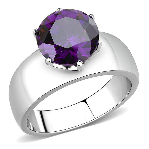 Stainless Steel  Amethyst CZ Round Cut 10 MM 3.16 Ct Ring Size 5-10