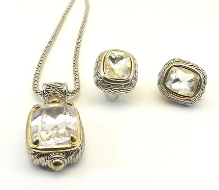 Bali Designer Inspired  Clear CZ Pendant-Earring Chain Set