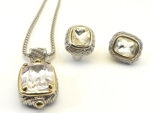 Bali Designer Inspired  Clear CZ Pendant-Earring Chain Set