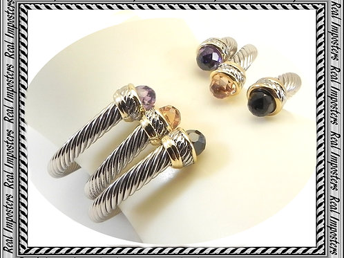STACKING SETS Cable Designer Inspired 2-Tone Bracelet Cuffs 6 Colors