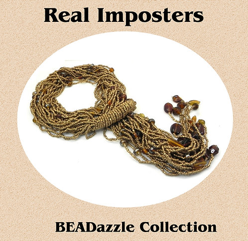 Hand Made Multi Strand Beaded Scarf Necklace-Lariat Gold-Topaz Beads