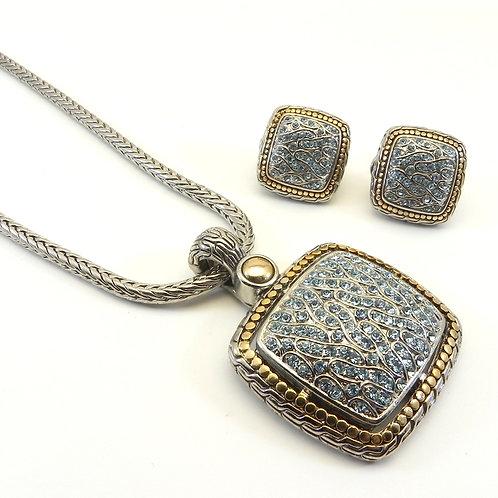 Bali Designer Inspired  Blue Topaz Pave Austrian Crystal Pendant-Earring & Chain
