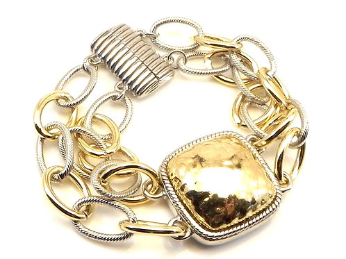 Chunky Cable Designer Inspired 2-Tone Double- Strand Chain Bracelet