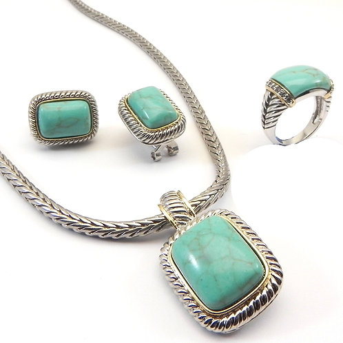 Cable Designer Inspired 2-Tone Turquoise Pendant, Earring, Chain & Ring 6-7-8