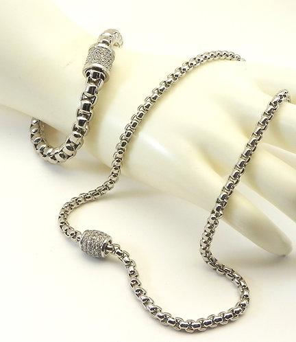 Classic Designer Inspired Silver-Tone Finish Necklace/Bracelet Set