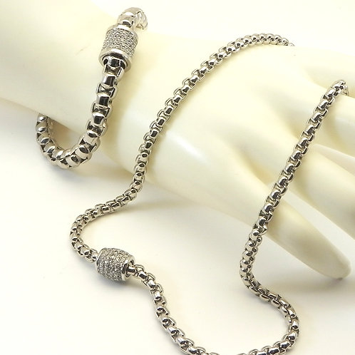 Classic Designer Inspired Silver-Tone Finish Necklace/Bracelet Set