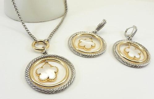 Mother Of Pearl 5 Leaf Clover  Designer Inspired 2-Tone Necklace & Earring