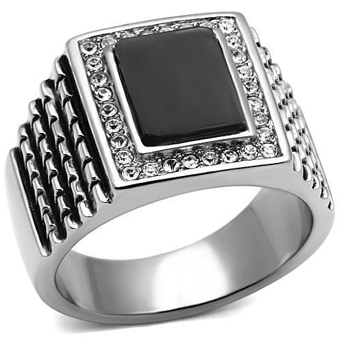 Stainless Steel Men's Ring Black center stone & fine crystals Size 8-13