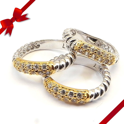 Classic Cable Designer Inspired 2-Tone Pave Triple Stacker Ring 6-7-8