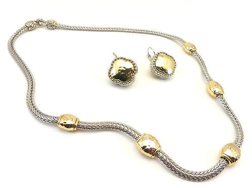Bali Designer Inspired 2-Tone Hammered Finish Necklace/Earring Set