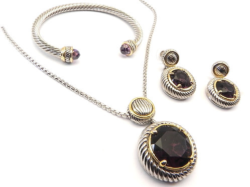 Cable Designer Inspired 2-Tone Amethyst CZ Neck-Pendant Bracelet and Earring Set