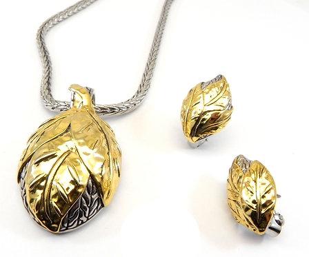 Bali Designer Inspired 2-Tone  Chain, Leaf Pendant, Earring 3 PC Set
