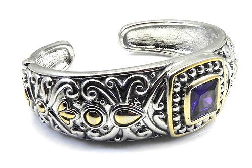 Bali Designer Inspired 2-Tone Purple-Amy Square Cut CZ Bracelet