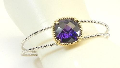Designer Inspired 2-ToneTwisted Wire Amethyst-Purple CZ  Bracelet Cuff