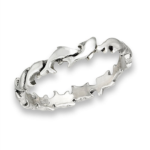 Sterling Silver Tiny-Petite Playing Dolphins Ring Size 6
