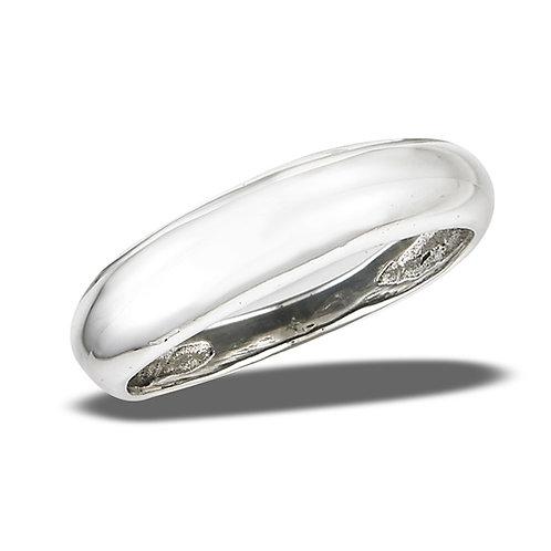 Sterling Silver Sleek High Polish Convex Ring Size 9