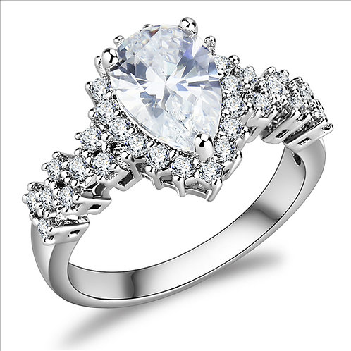Stunning Pear Shape 7 cwt CZ & Halo Stainless Steel Engagement Ring 5-9