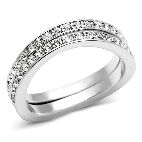 Double Eternity Band Silver-Tone Pave Set Crystals Promise-Engagement Ring 5-8