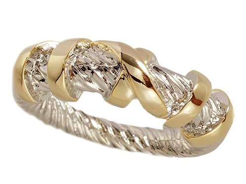 Classic Cable Designer Inspired 2-Tone Pave Ring 6-7-8