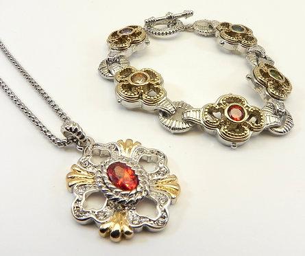 Designer Inspired 2-Tone Multi-Color CZ Bracelet Paired & Red-Garnet CZ Necklace