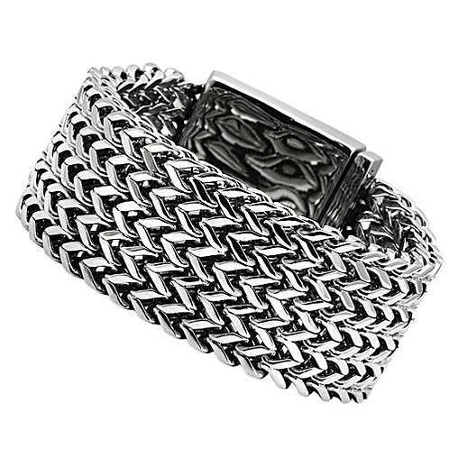 Dashing-Manly-Bold-Chunky Heavy Metal Stainless Steel Link Bracelet