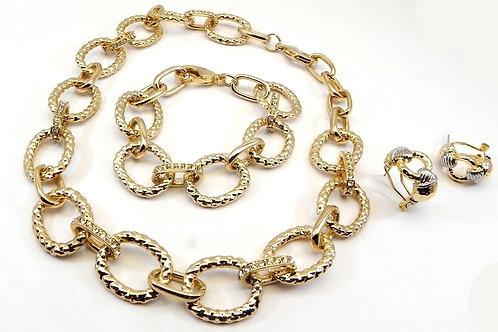 Designer Inspired Gold-Tone Link Crystals Necklace & Bracelet Set