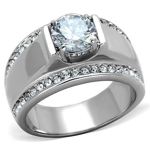 Stainless Steel  Round Cut & Pave Set CZ's Fashion Men's Ring Size 8-13