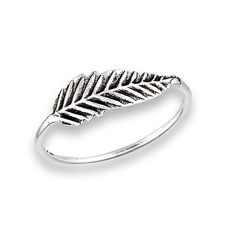 Sterling Silver Very Delicate Feather Antiqued Ring Size 7
