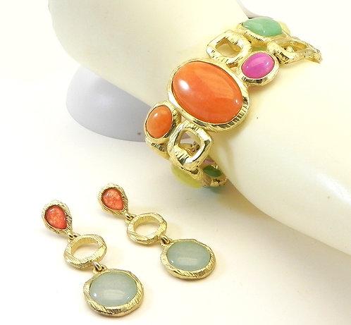 French Designer Inspired  Gold-Tone Faux Semi-Precious Bracelet-Earring Set