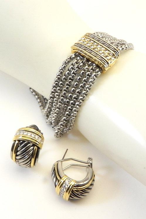 Cable Designer Inspired 2-Tone Multi Strand Crystal Bracelet Earring  Set