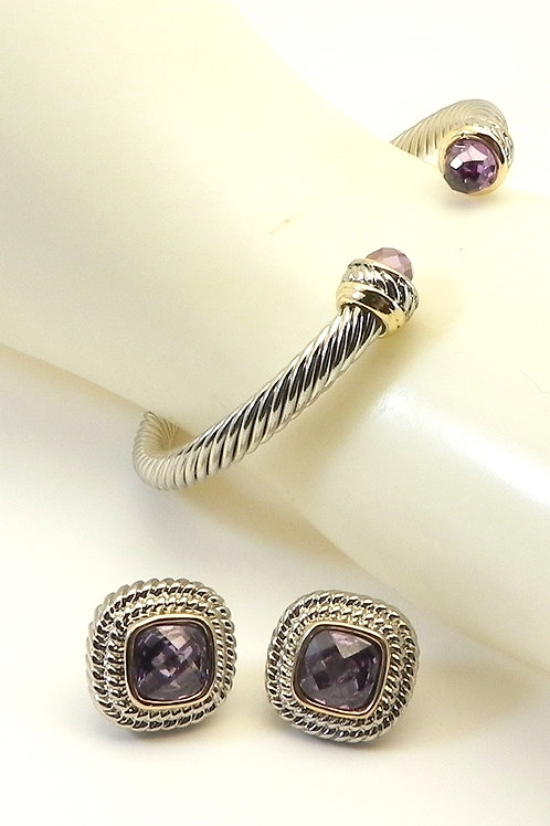 Cable Designer Inspired 2-Tone 4.7MM Cuff Amethyst CZ Tips & Matching Earring