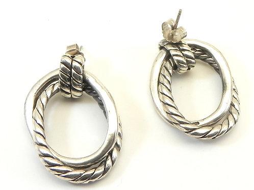 Sterling Silver 925 Cable Designer Inspired Double Door-knocker Earrings