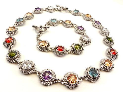Designer Inspired 2-Tone Caviar Stations Round Multi-Color CZ Necklace-Bracelet
